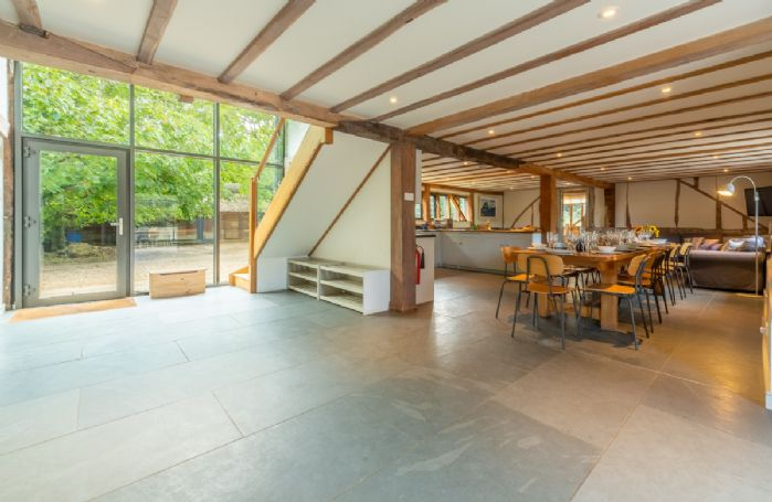 Butley Barn ground floor: Entrance hall leading to open plan living space
