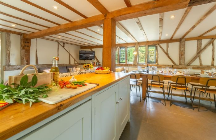 Butley Barn ground floor: Open plan living space from the kitchen area