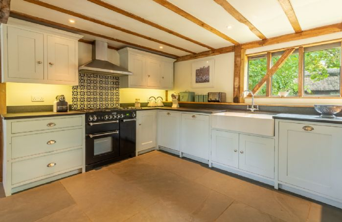 Butley Barn ground floor: Kitchen area is perfect for preparing light lunches or larger meals