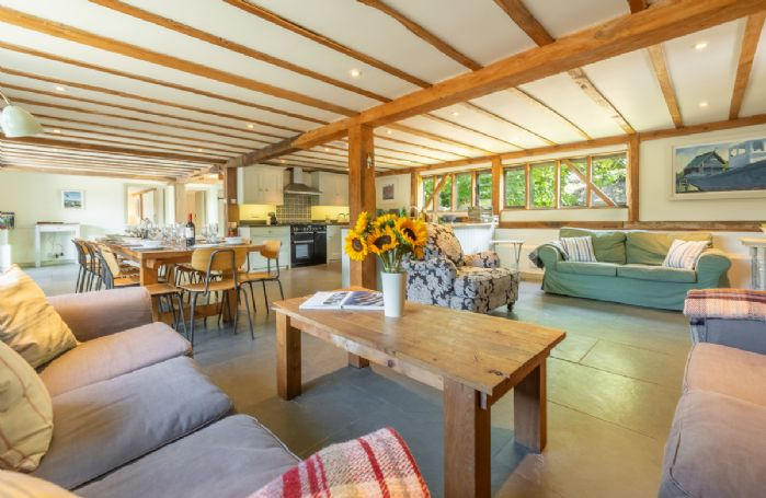 Butley Barn ground floor: Open plan living area perfect for family and group get-together