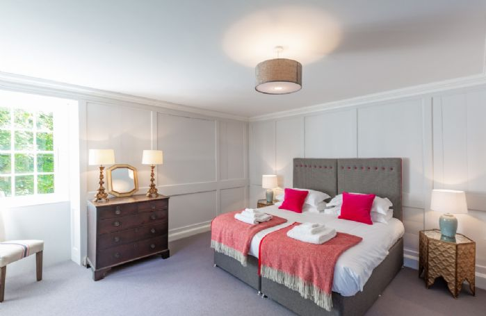 Second floor: Bedroom six with 6' super king size zip and link bed