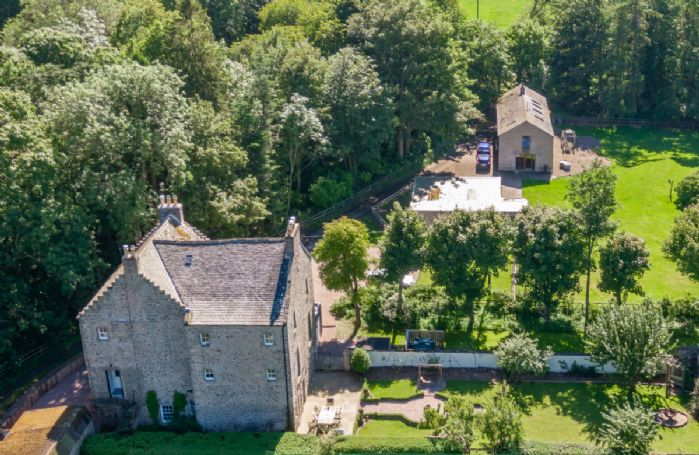 Aerial view of Old Purves Hall and stunning location