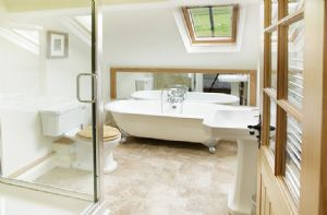 Hause Hall Farm:  First floor: The Bannerdale en-suite bathroom with bath and separate shower