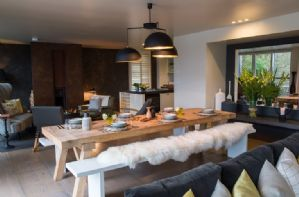 First floor Kitchen and dining area with views over Huntsmans lake