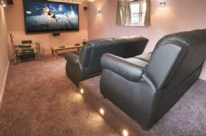 Cinema room seating six with fridge and popcorn machine