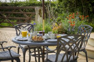 The patio is the perfect spot for breakfast in the sunshine