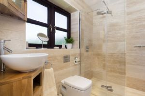 Ground floor: Bathroom with tiled wet room shower
