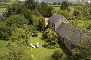 Aerial view: Large gardens at Tregadjack Barn