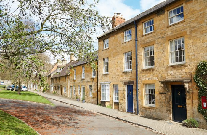 Hicks House with accommodation for 6 guests is the Georgian Grade II listed mid-terrace house (with blue door) on three floors and situated on the edge of a small village green, at the top end of the High Street in Chipping Campden in the Cotswolds