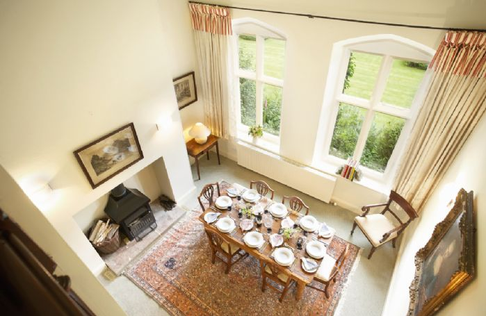 View of the dining room from above