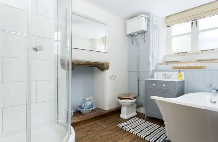 First floor: Bathroom with slipper bath and separate shower