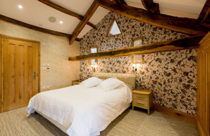 The Great Barn: Cockpit - Lake View bedroom with 6' Super King double bed and en-suite natural stone bathroom with bath and separate monsoon and raindrop shower