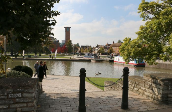 The Bancroft Gardens at Stratford-upon-Avon, looking across to the Royal Shakespeare Theatre