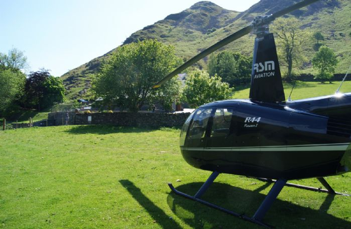 Arrive at The Great Barn in style in a private helicopter