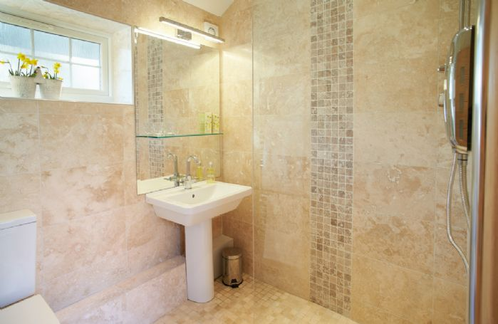 Wet room with electric shower