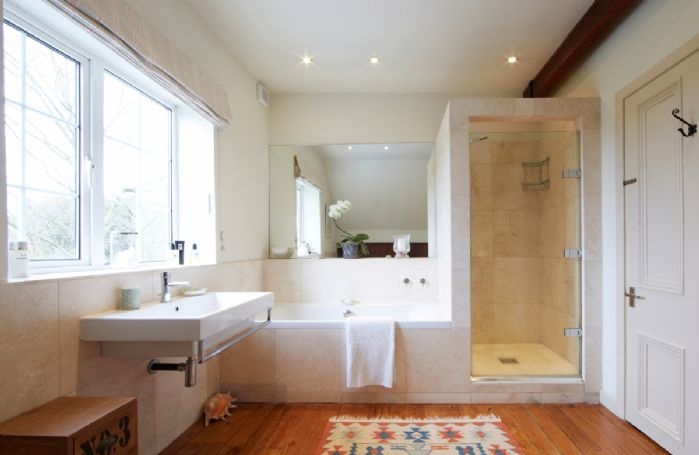 First floor:  Family bathroom with separate shower