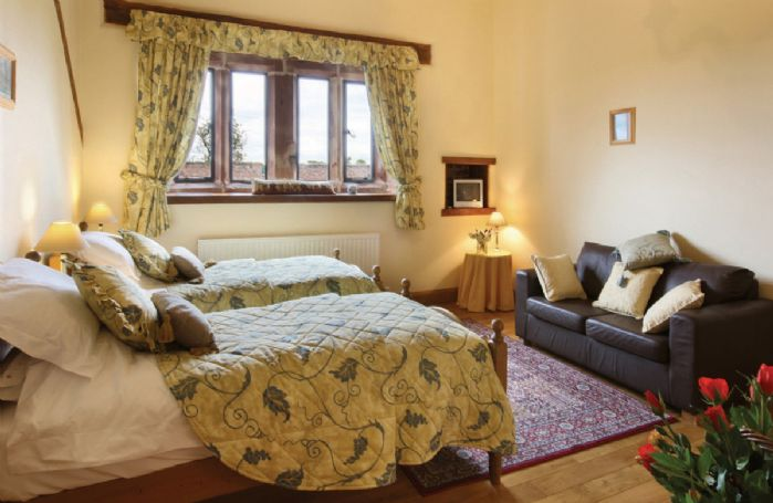 Ground floor:  Twin bedroom with 3' single beds (can convert to a 6' double on request)
