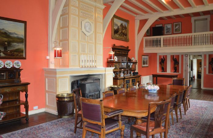 Ground floor:  The Grand Hall/banquetting room with minstrels gallery