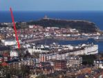 Scarborough from Oliver's Mount. Arrow indicates location of Easby Hall.