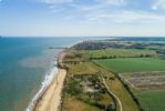 View from the skies above the sea looking over Southwold.