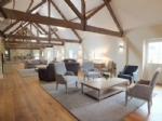 Gorgeous vaulted living room at Finchcocks Oast