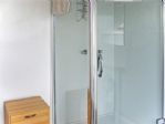 The shower is large and fully enclosed......