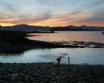 An Rhubha Cottage Easdale Island Scotland - stone skimming