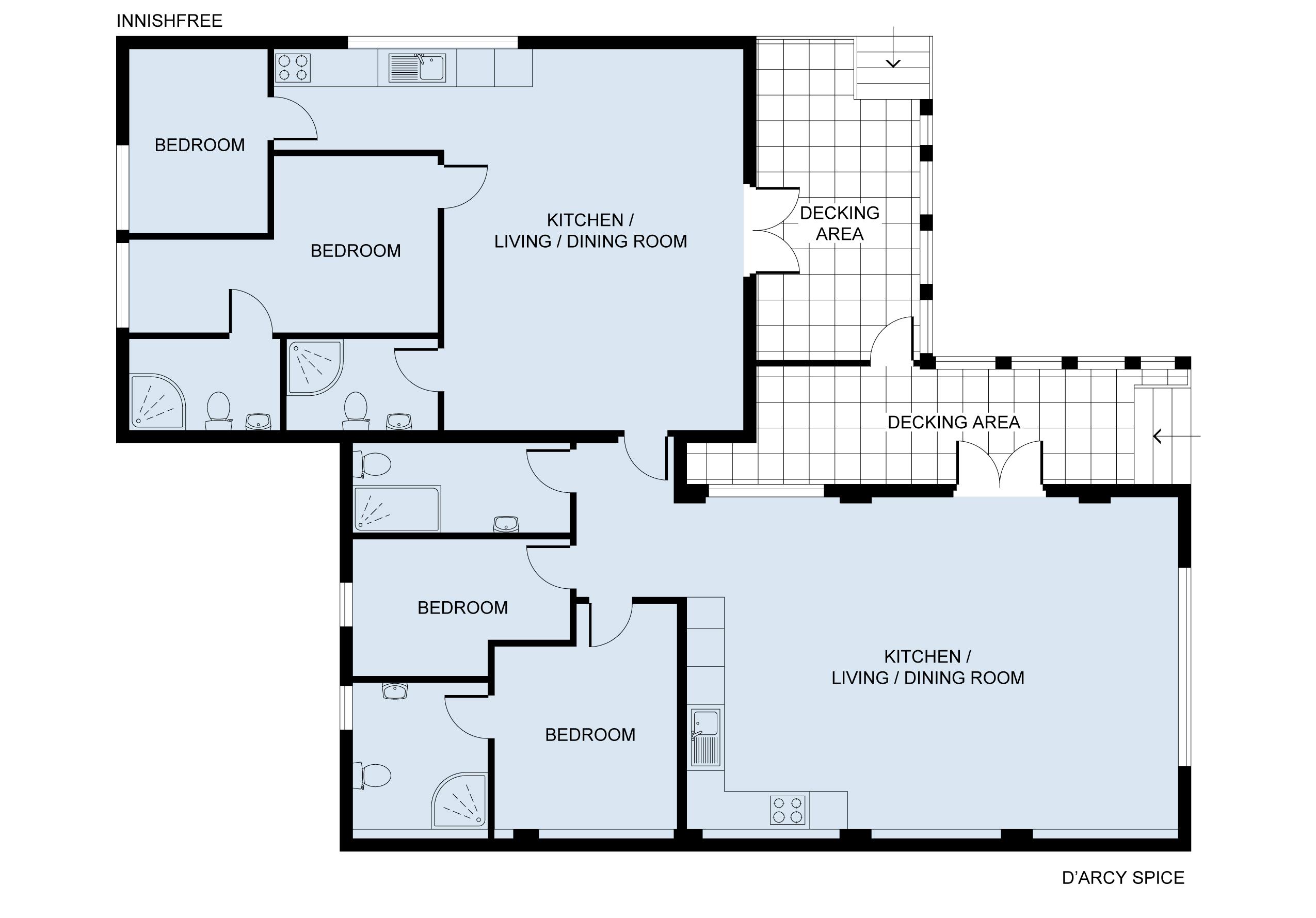 Floor plan Innishfree and adjoining D'Arcy Spice
