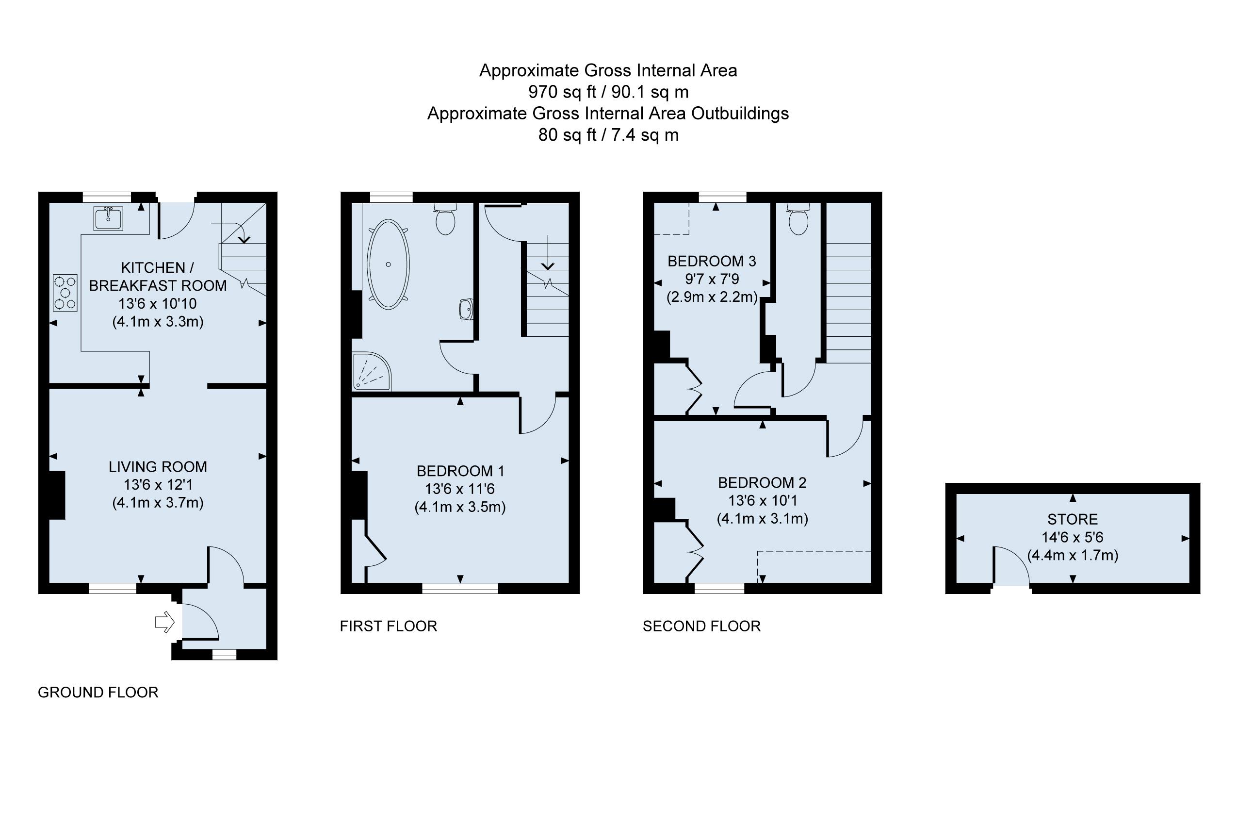 Floor plan Daisy Cottage Arundel