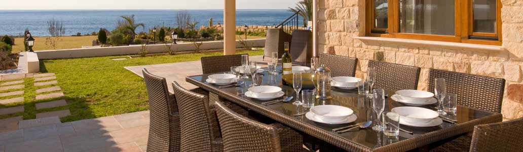 Villa Estia, Sea caves, Paphos, Cyprus- Enjoy a meal with your group whilst admiring th Sea Views